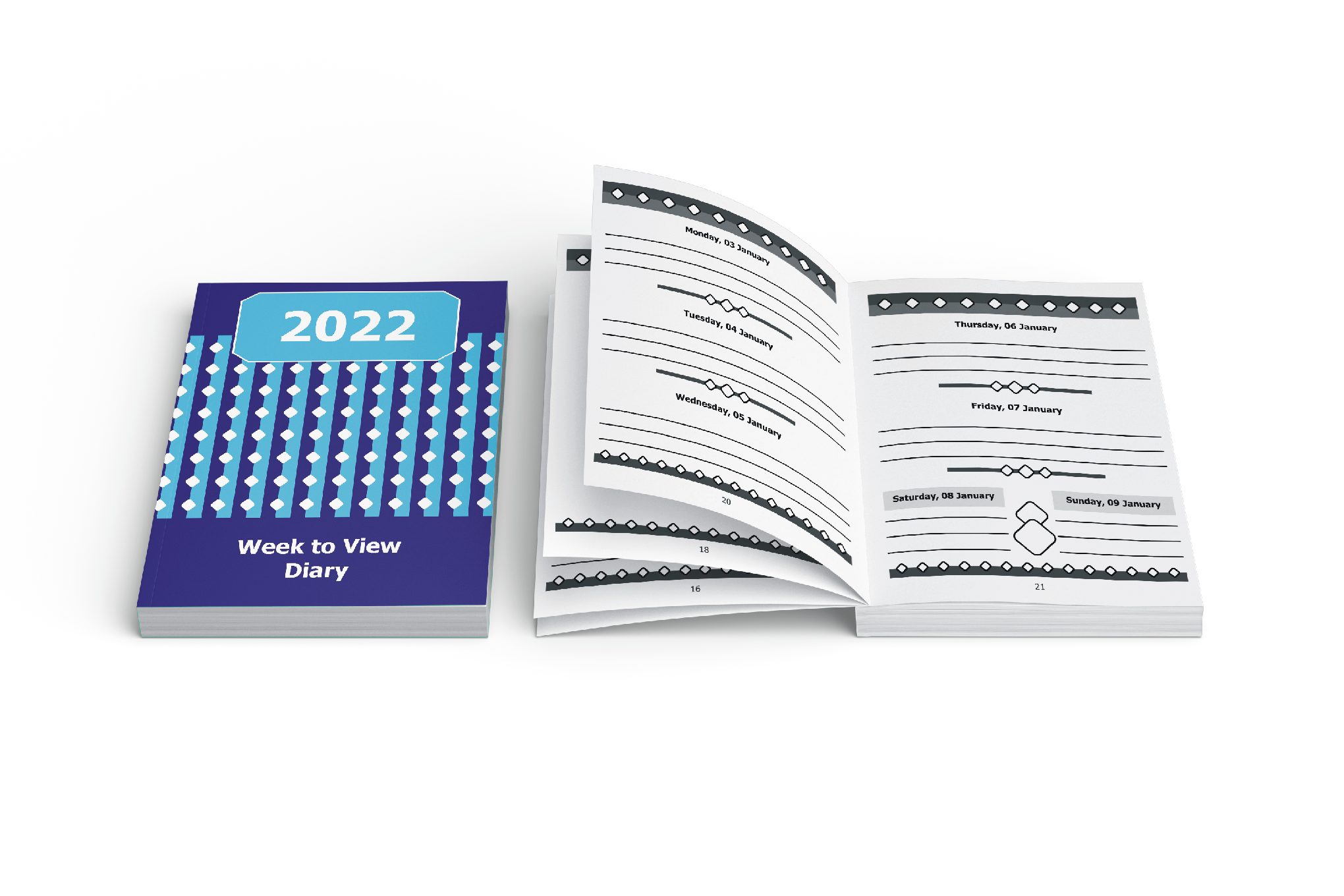 Image of 2022 Large Print Publications 2021 large print diary with diamonds cover