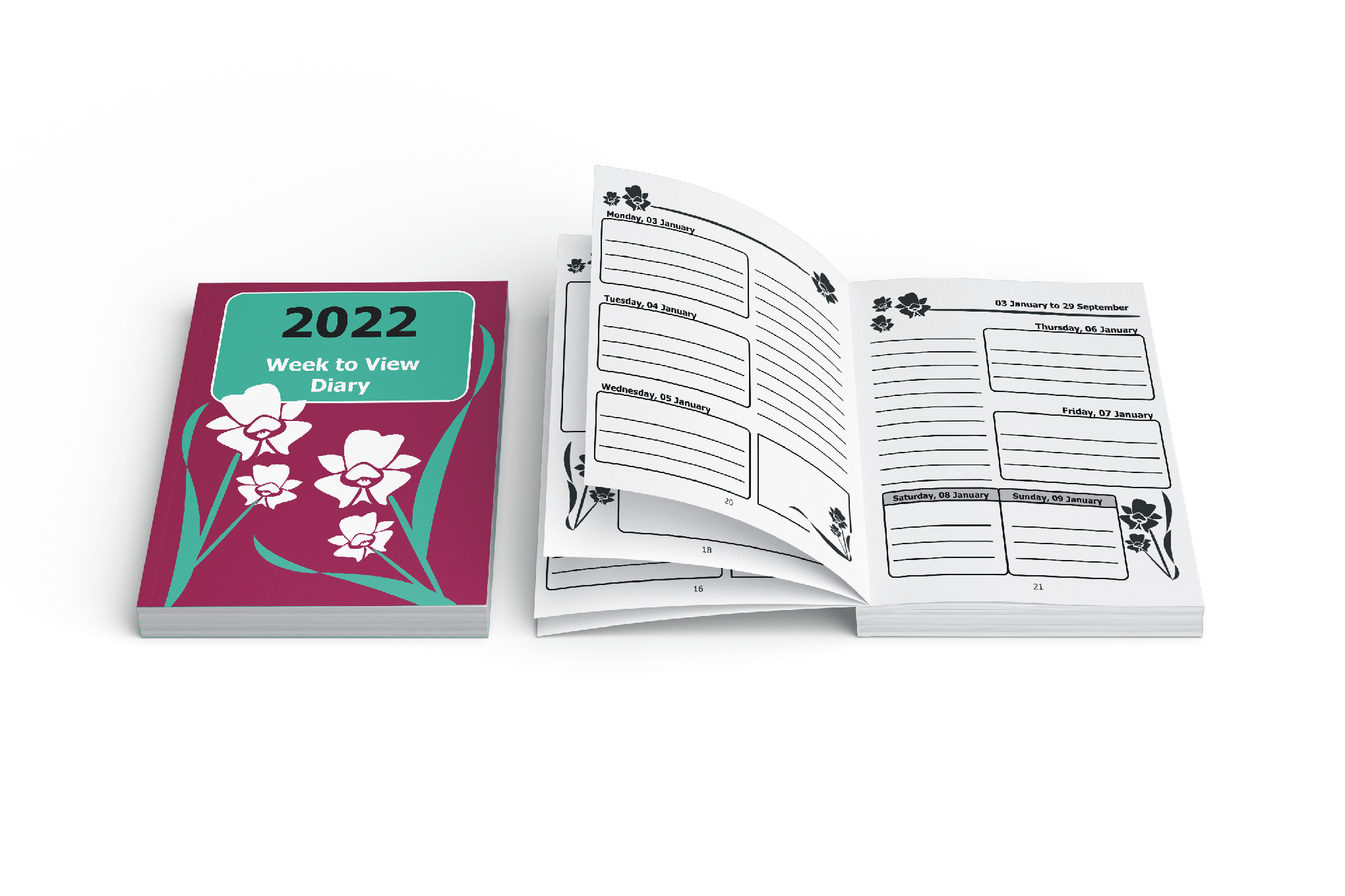 Image of 2022 Large Print Publications 2021 large print diary with orchid cover